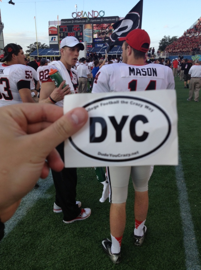 I know how much Andy loves Mason, so I took this photo of him with a DYC sticker during the Capital One Bowl celebration.