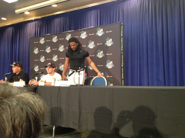 An emotional Jarvis Jones joins the Georgia post-game press conference, already in progress.