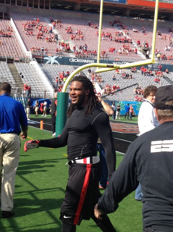 Jarvis Jones walks in from warmups prior to the Capital One Bowl