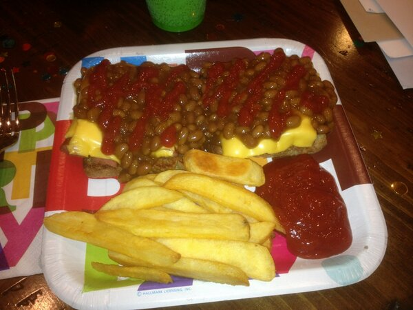 @MarkRicht: This is a picture of my birthday meal. Hot Dawg Delight!